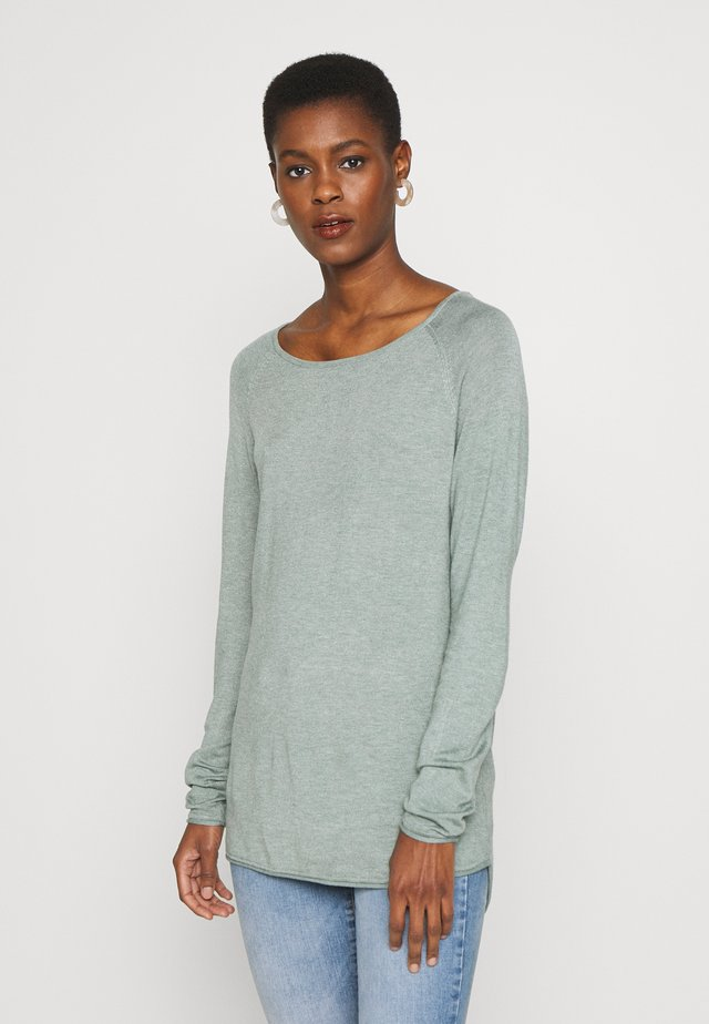 ONLMILA LACY LONG TALL - Neule - chinois green/white melange