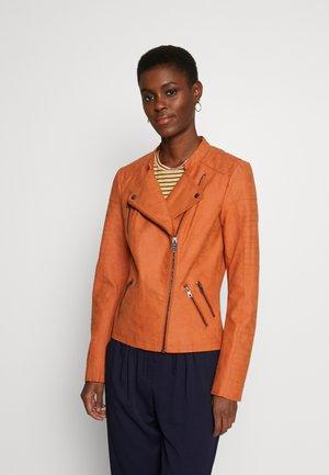 ONLAVA BIKER - Faux leather jacket - gold flame