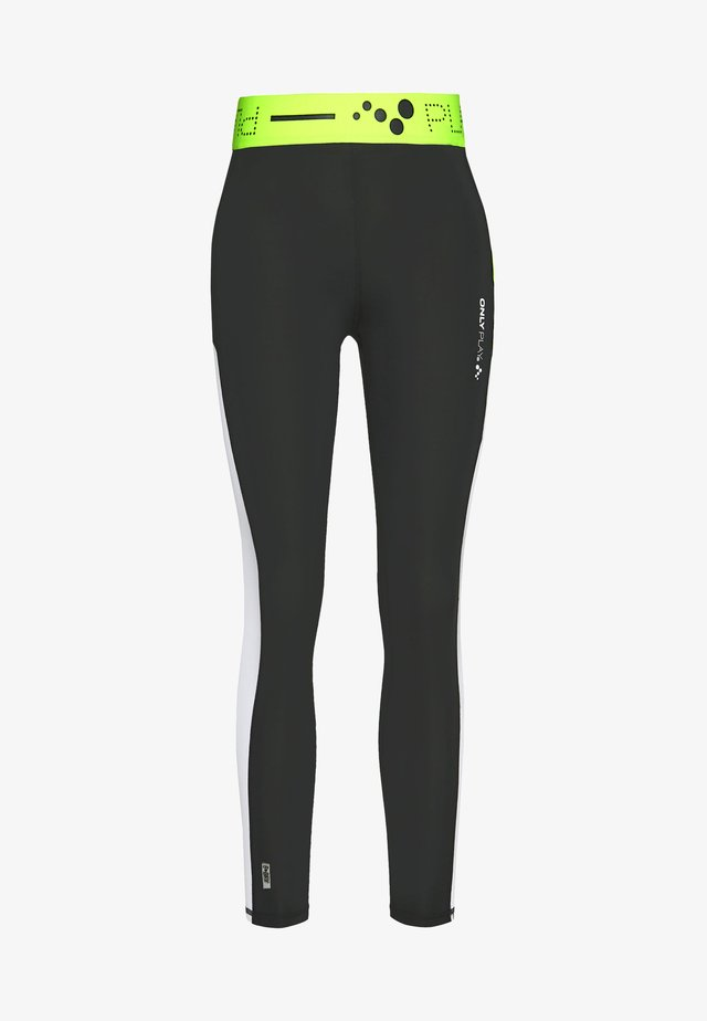 ONPALIX HW 7/8 TRAINING TIGHTS - Leggings - Trousers - black/white/saftey yellow