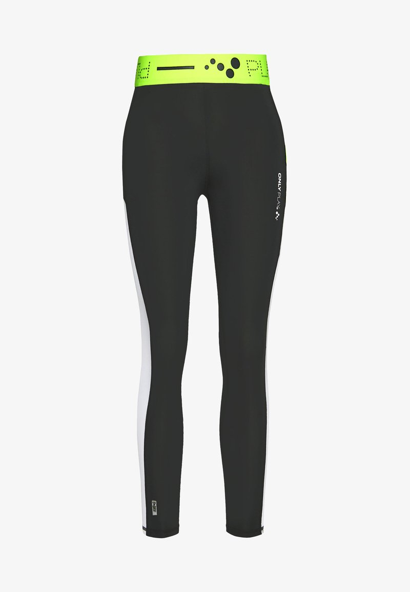 ONLY PLAY Petite - ONPALIX HW 7/8 TRAINING TIGHTS - Leggings - Trousers - black/white/saftey yellow