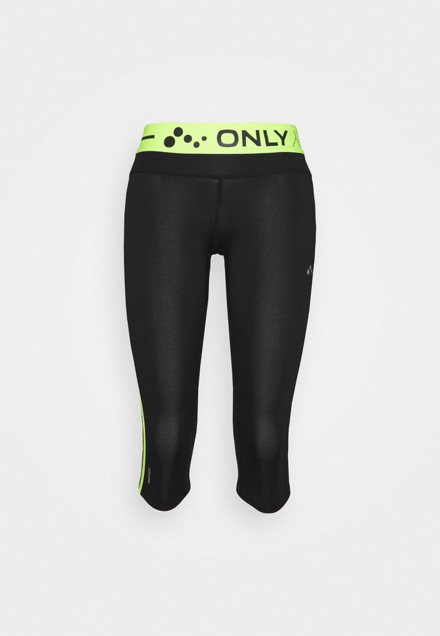 ONPJACEI ATHL TIGHTS  - Leggings - Trousers - black/safety yellow