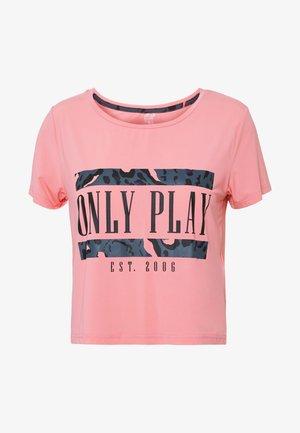 ONPMARIKA SHORT TRAINING TEE - Print T-shirt - strawberry pink turbulence