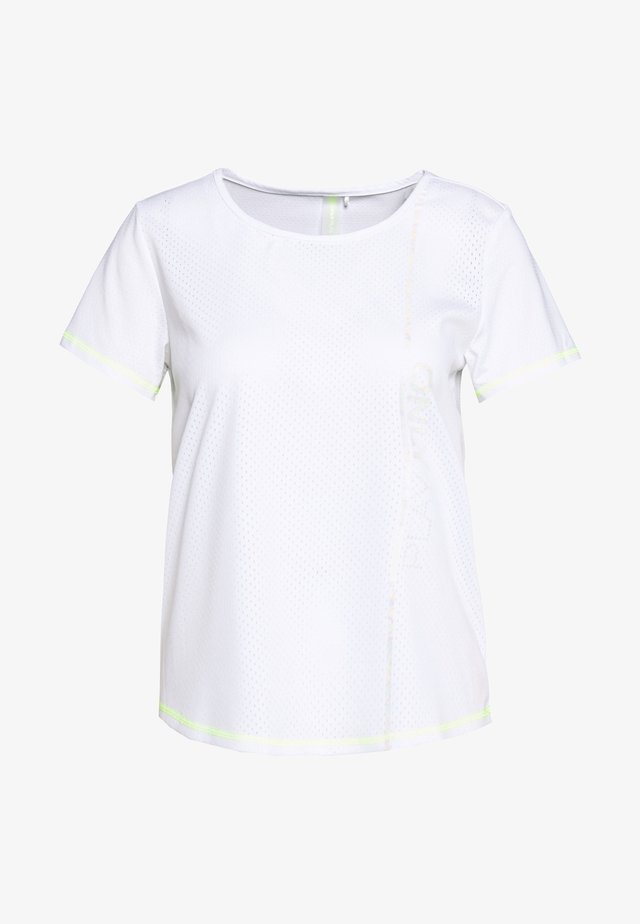 ONPALIX TRAINING TEE - Print T-shirt - white/saftey yellow