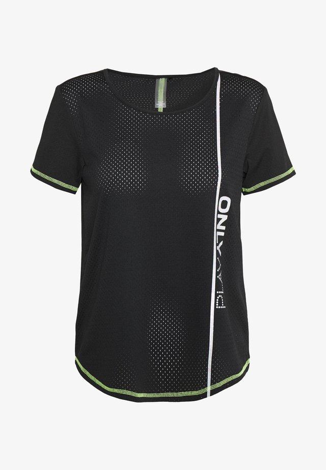 ONPALIX TRAINING TEE - Print T-shirt - black/saftey yellow/iridescent