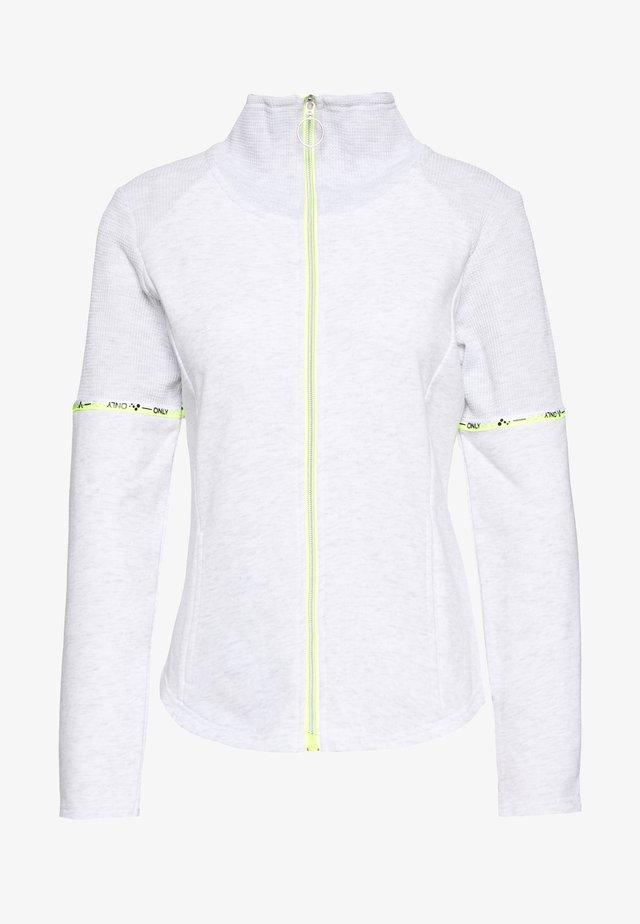 ONPALYSSA ZIP PETITE - Sweatjakke /Træningstrøjer - white melange/saftey yellow