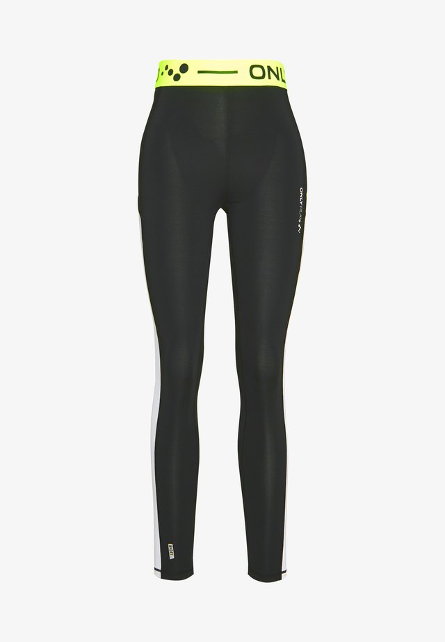 ONPALIX TRAINING TIGHTS - Legginsy - black/white/yellow