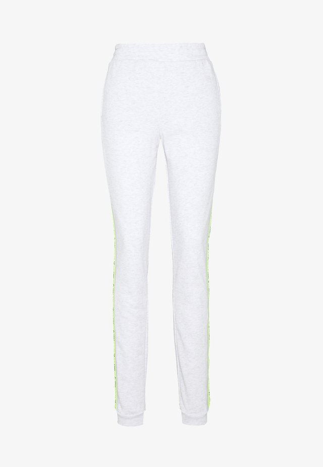 ONPALYSSA PANTS  - Spodnie treningowe - white melange/safety yellow