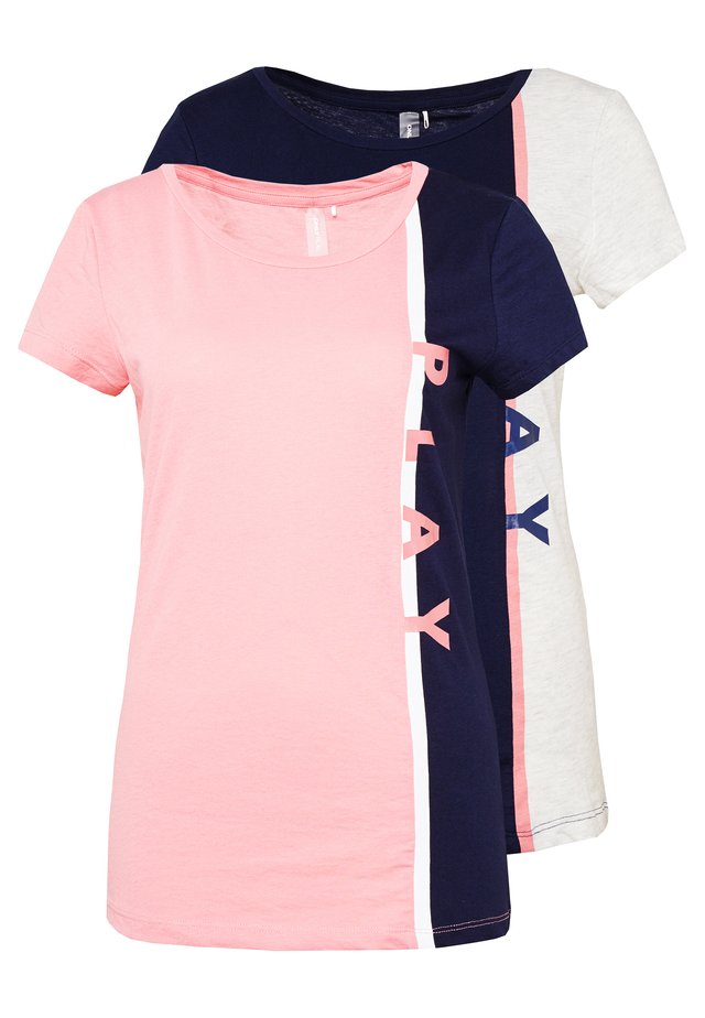 ONPFELICE LIFE TEE 2 PACK  - T-shirts med print - maritime blue/strawberry pink