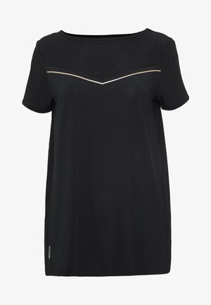 ONPJEWEL BOATNECK TRAINING TEE - Print T-shirt - black/white gold