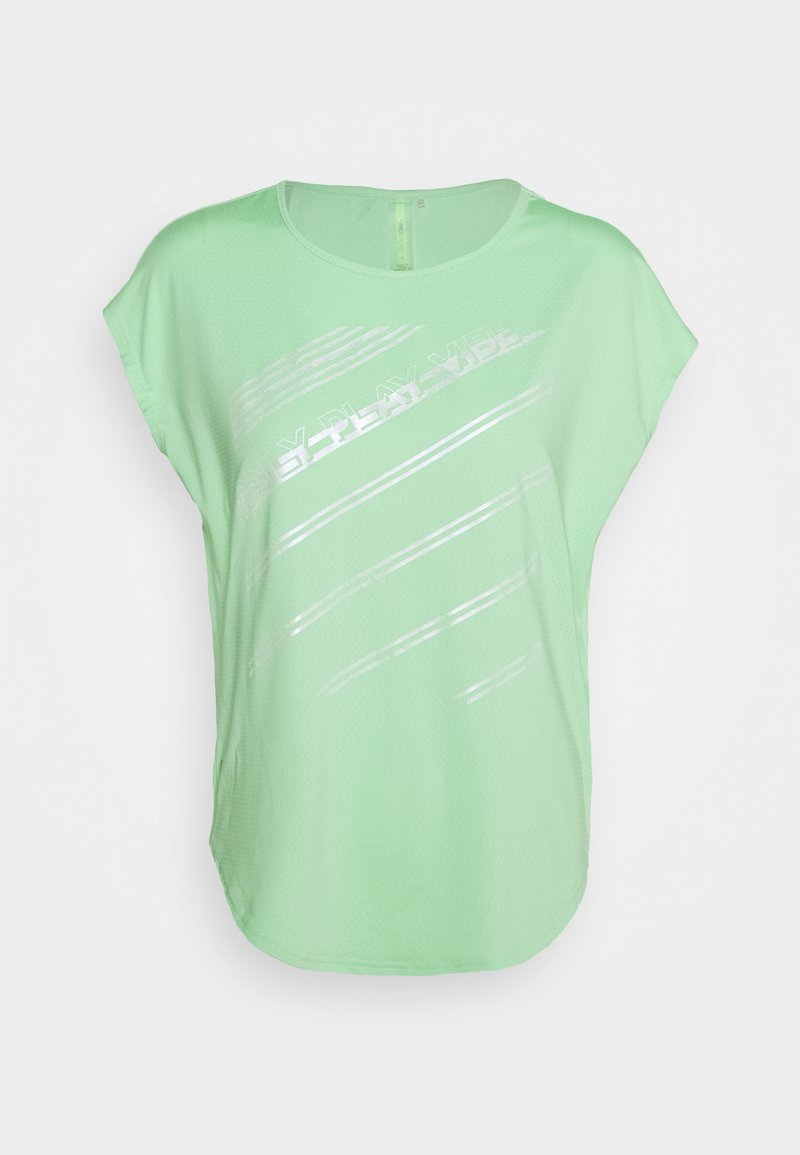 ONLY PLAY Tall - ONPMANON CURVED TRAINING TEE TALL - Print T-shirt - green ash/saftey yelow/white