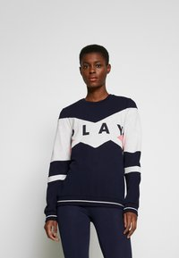 ONLY PLAY Tall - ONPFELICE CREWNECK - Mikina - maritime blue/white melange - 0