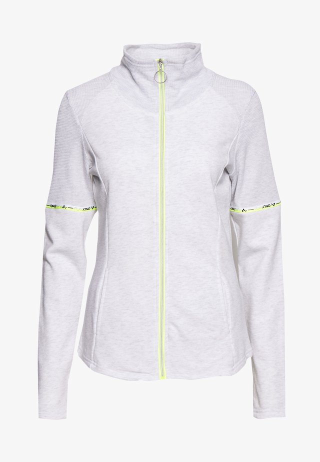 ONPALYSSA ZIP TALL - Sweatjacke - white melange/safety yellow