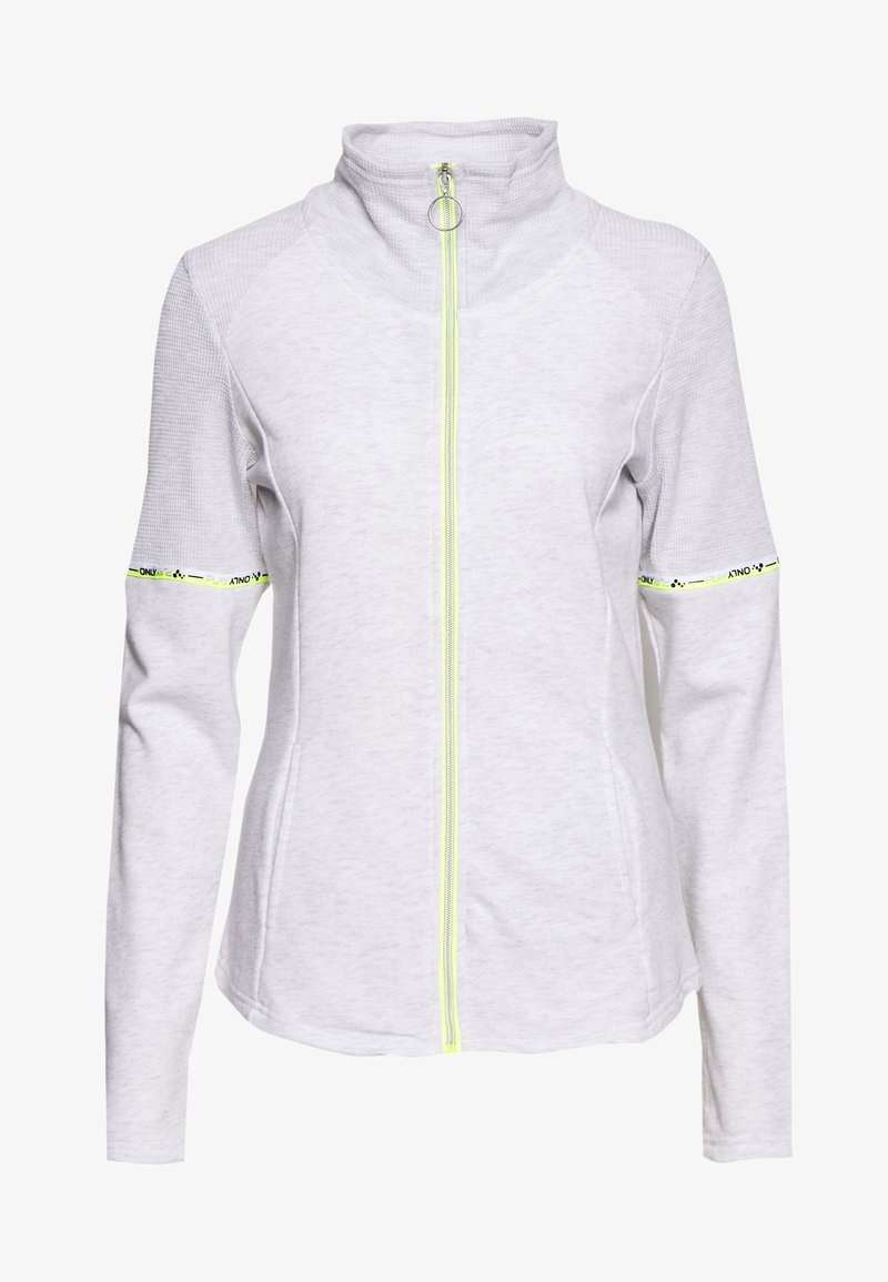 ONLY PLAY Tall - ONPALYSSA ZIP TALL - veste en sweat zippée - white melange/safety yellow