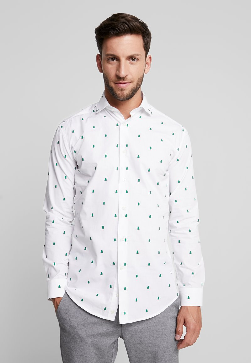 OppoSuits - CHRISTMAS TREES TAILORED FIT - Camicia - white