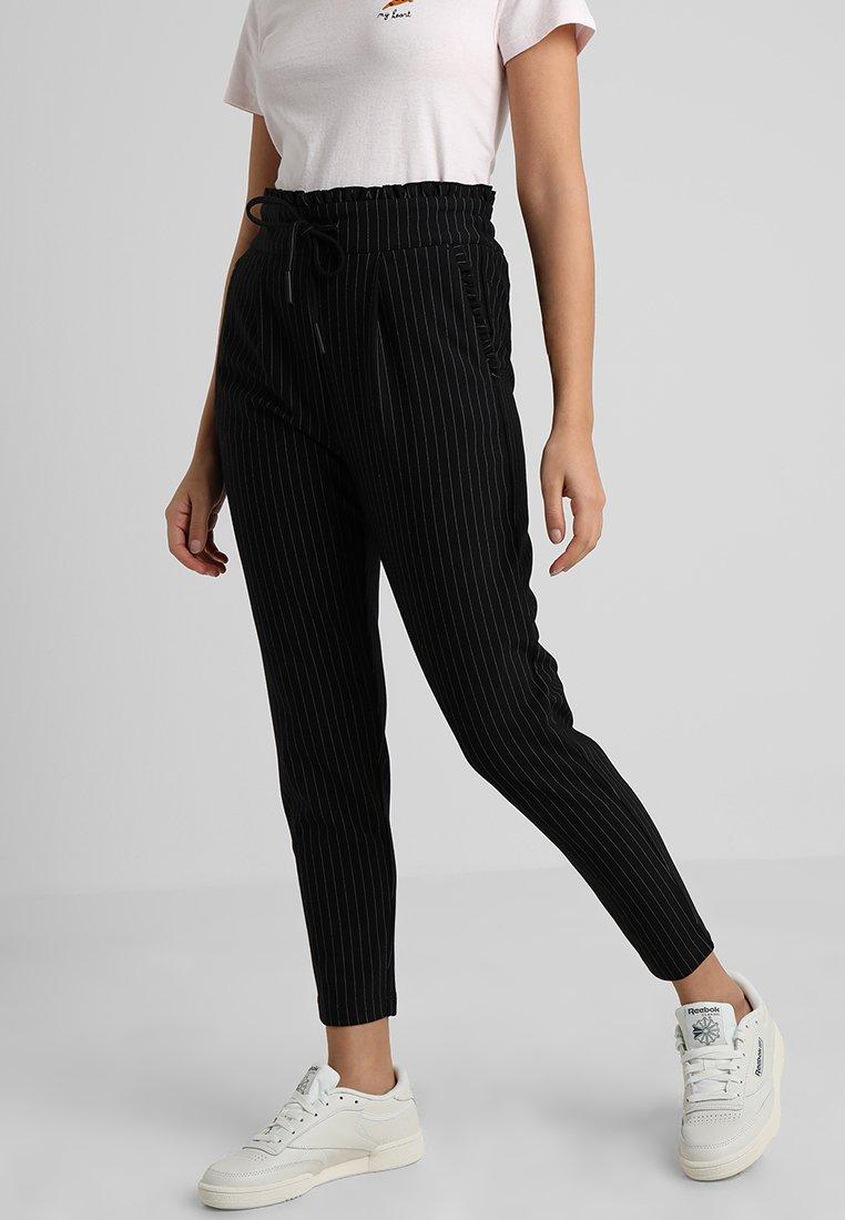 ONLY Petite - ONLPOPTRASH CLASSI PINSTRIPE FRILL - Trousers - black