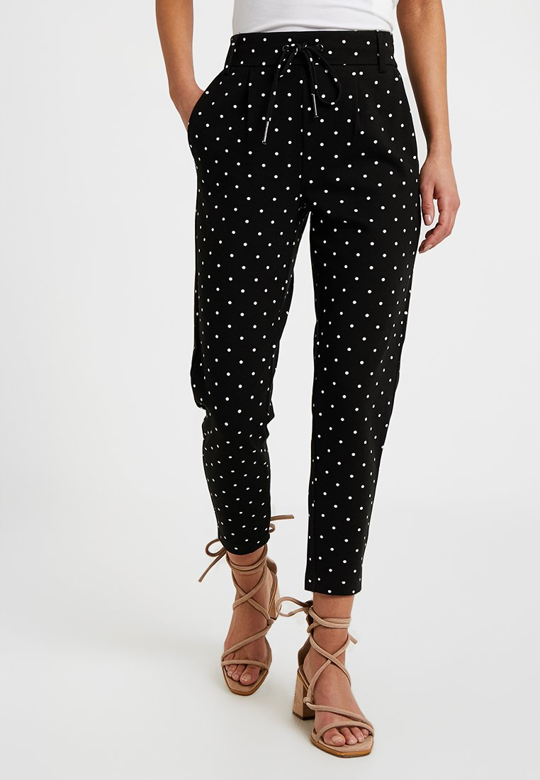 ONLY Petite - ONLPOPTRASH EASY DOT PANT - Stoffhose - black/white