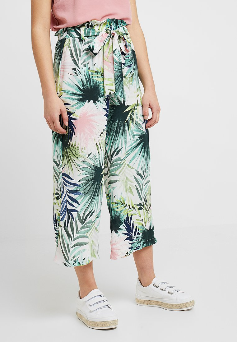 ONLY Petite - ONLTROPICAL PAPERBAG PANT  - Tygbyxor - cloud dancer