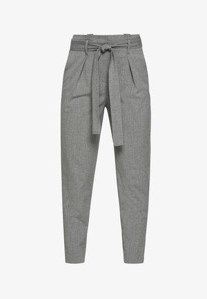ONLNICOLE PAPERBAG ANKEL PANTS - Spodnie materiałowe - light grey melange