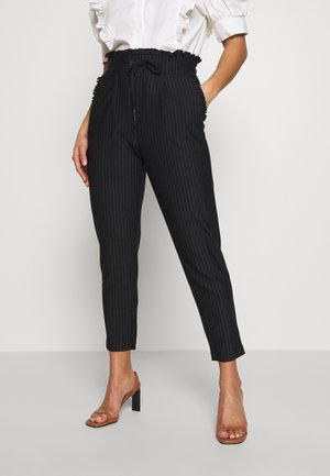 ONLPOPTRASH CLASSI PINSTRIPE FRILL - Trousers - black