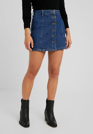 ONYMACHINE BUTTON SKIRT - Áčková sukně - dark blue denim