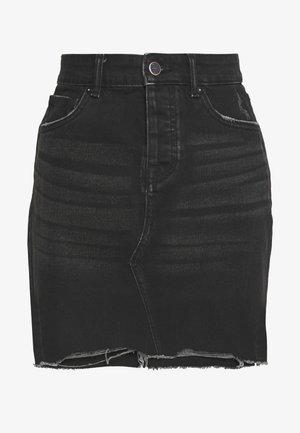 ONLSKY SKIRT RAW EDGE - Mini skirt - black