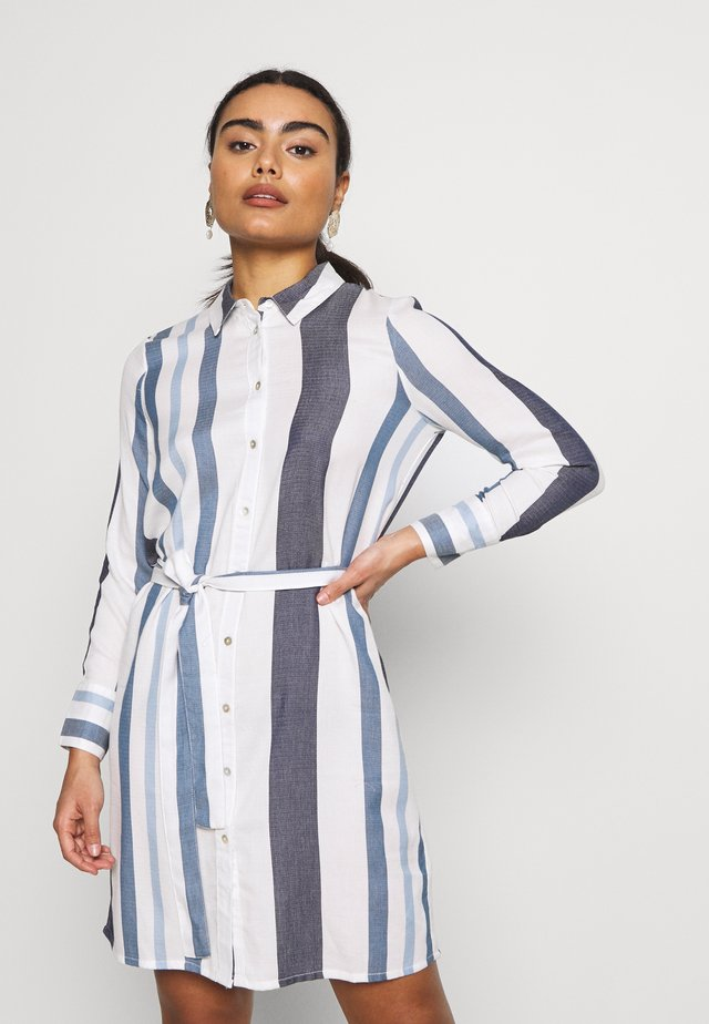 ONLANYA STRIPE DRESS - Sukienka koszulowa - cloud dancer/light blue/dark blue