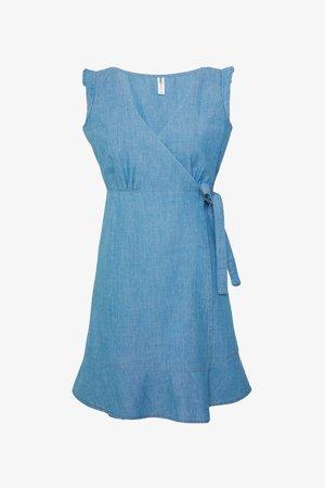 ONLELODIE LIFE DRESS - Denimové šaty - light blue denim