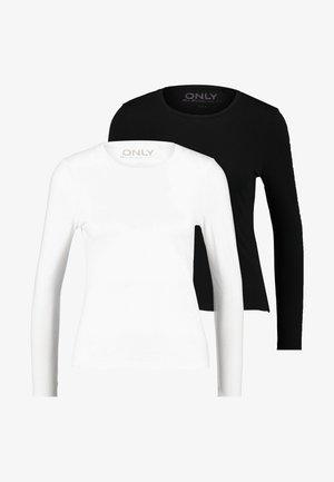 ONLCATE TIGHT TEE 2 PACK - Camiseta de manga larga - black/white