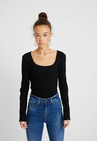 ONLY Petite - ONLSISLEY 2 PACK - Maglietta a manica lunga - pumice stone/black - 0