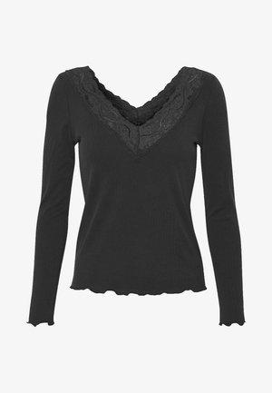 ONLLARA V NECK TOP - Top sdlouhým rukávem - black