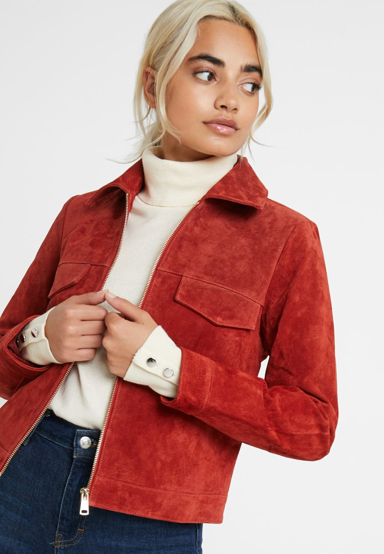 ONLY Petite - ONLLEAH SHORT JACKET - Giacca di pelle - ketchup