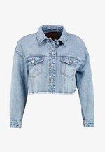 ONLBETTY CROP RAW EDGE  - Kurtka jeansowa - medium blue denim
