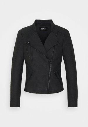 AVA FAUX LEATHER BIKER PETITE  - Faux leather jacket - black