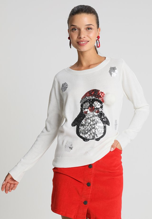 ONLXMAS PENGUIN CHRISTMAS - Jersey de punto - cloud dancer