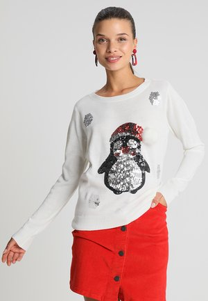 ONLXMAS PENGUIN CHRISTMAS - Svetr - cloud dancer/ black