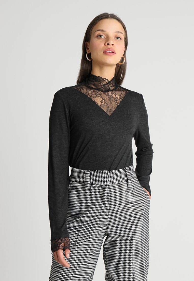 ONLY Petite - ONLWILMA MIX HIGHNECK  - Maglietta a manica lunga - dark grey melange