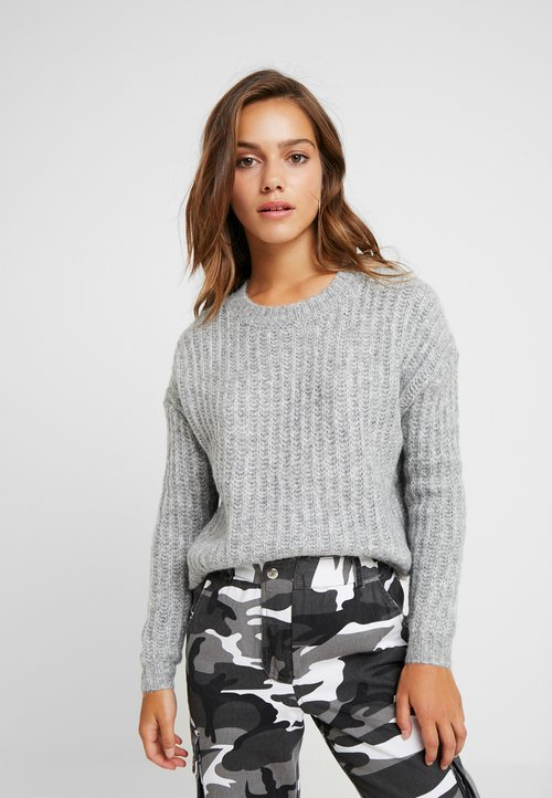 ONLY Petite ONLCHUNKY - Sweter - light grey melange/multi melange Odzież Damska MYYO-YR9 trwałe modelowanie