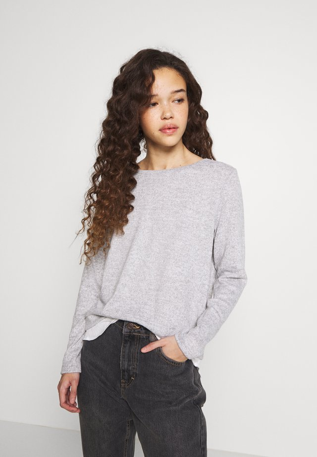 ONLASHLEY PLACKET MIX TOP PETIT - Neule - light grey melange