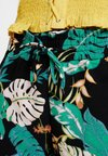 ONLY Petite - ONLPIPER PAPERBAG - Shorts - black/cloud dancer/pool blue/calyps