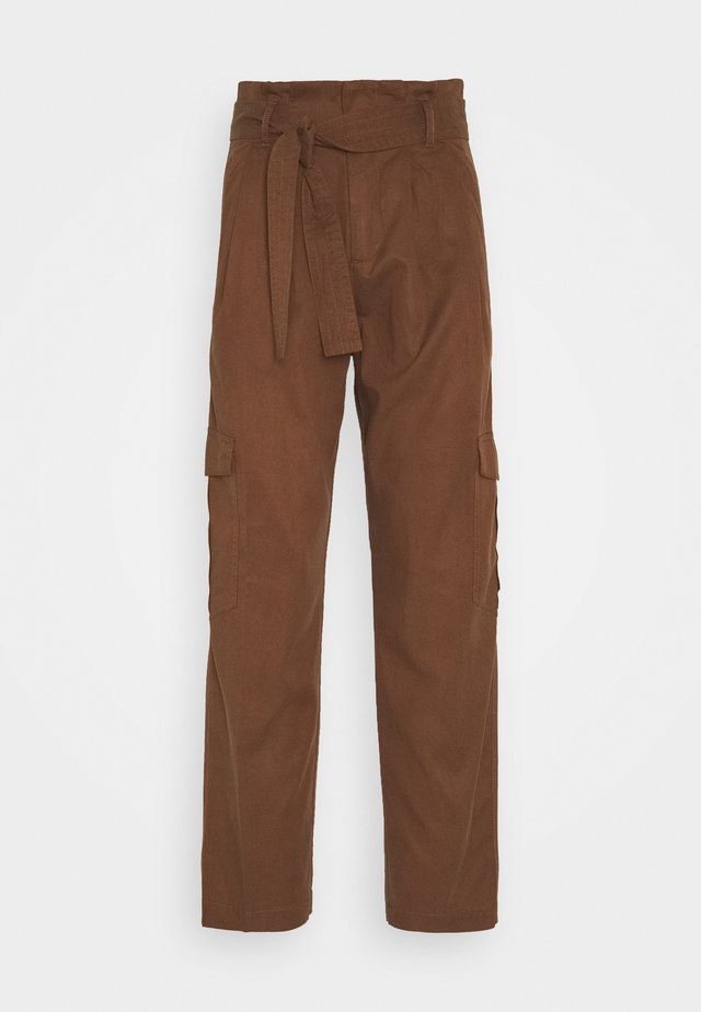 PANT WIDER LEG TURN UP DETAIL - Stoffhose - coconut shell