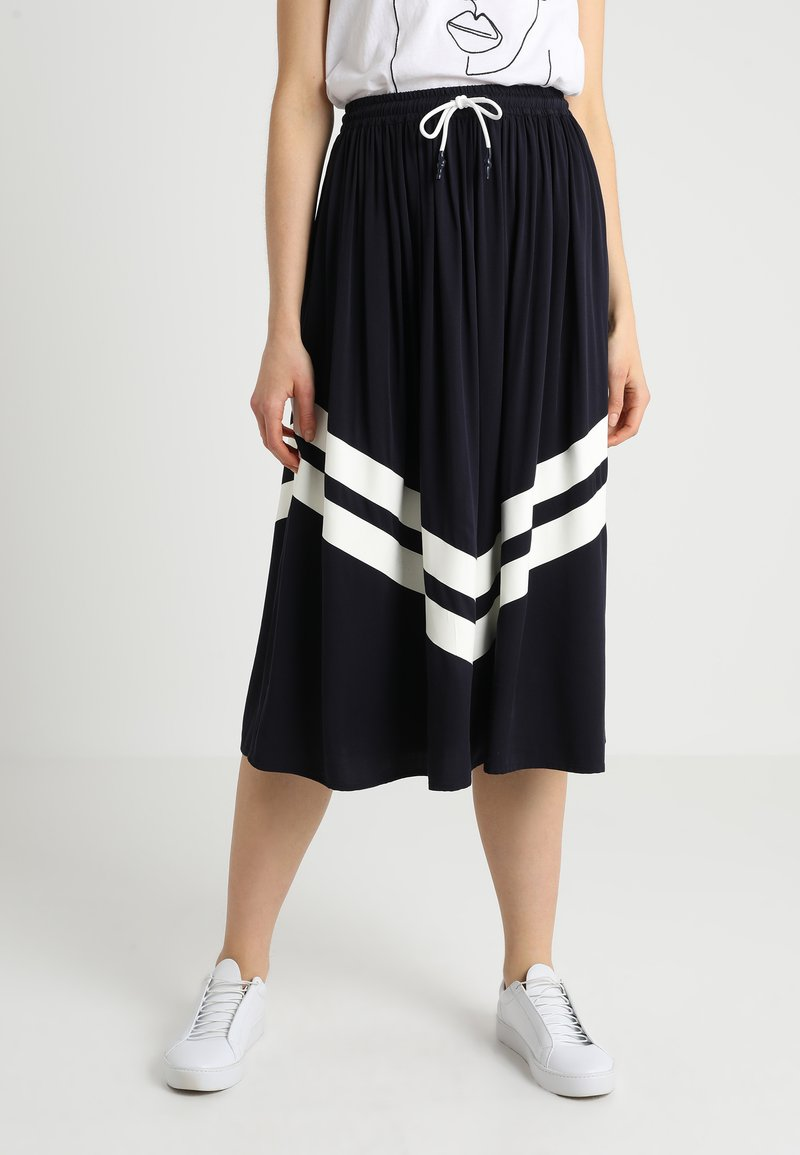 Marc O'Polo DENIM - SKIRT PRINTED STRIPE - A-line skirt - blue/night sky