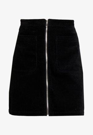 SKIRT FLAP POCKETS ZIPPER AT FRONT - Spódnica trapezowa - black