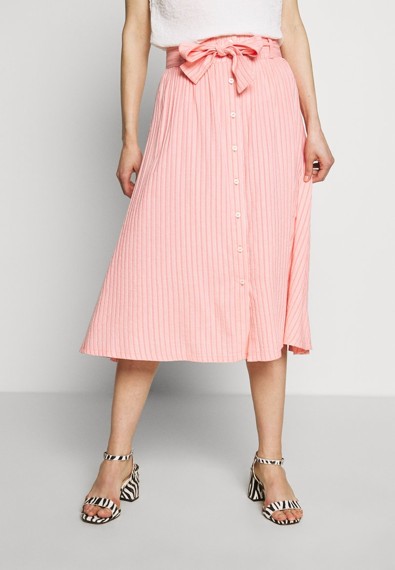 Marc O'Polo DENIM - SKIRT BELT BUTTON PLACKET - A-line skirt - multi/soft coral