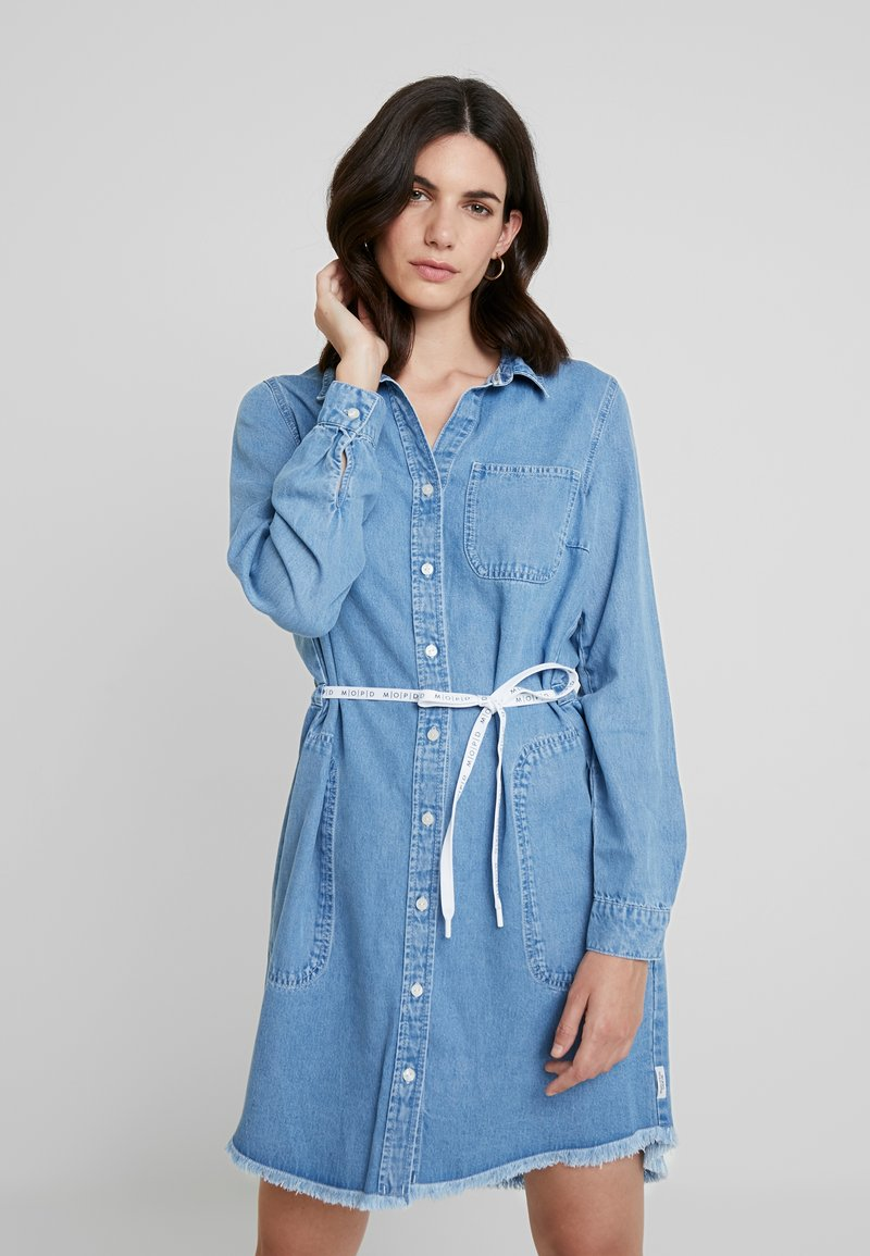 Marc O'Polo DENIM - DRESS COLLAR - Jeanskleid - melted indigo tencel