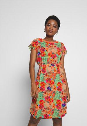 DRESS ROUND NECK SHORT SLEEVE - Day dress - multi-coloured