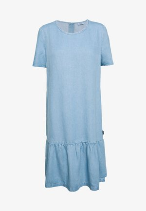 DRESS FEMININE RUFFLE AT HEM  LOOSE SLEEVE - Dongerikjole - light-blue denim