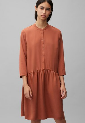 DRESS SHORT SLEEVE - Shirt dress - cinnamon brown