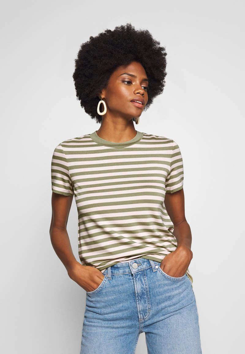 Marc O'Polo DENIM - SHORT SLEEVE STRIPE WITH CONTRAST NECKLINE - Triko s potiskem - multi/bleached olive