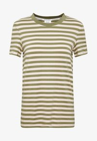 Marc O'Polo DENIM - SHORT SLEEVE STRIPE WITH CONTRAST NECKLINE - Triko s potiskem - multi/bleached olive - 4
