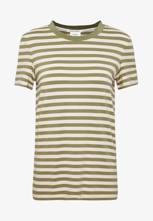 SHORT SLEEVE STRIPE WITH CONTRAST NECKLINE - T-shirts med print - multi/bleached olive